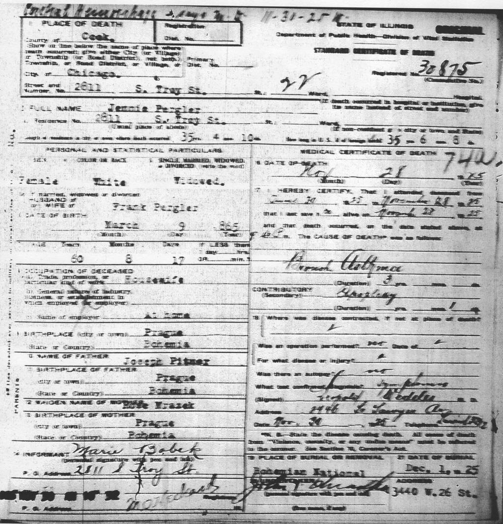 Pergler family history jennie pitner pergler 1865 lds film 1877727 certificate 6030875 husbands death certificate illinois xflitez Choice Image